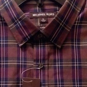 Michael Kors-New Men'sXL Shirt-RESORT 1-BERRY BLUE